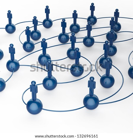 3d blue human social network as concept - stock photo