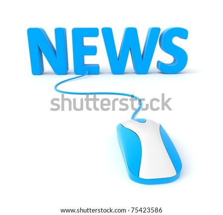 3d blue logo NEWS with pc mouse
