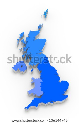 3D blue map of Great Britain on white isolated