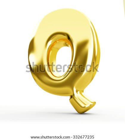 3d blue metal letter Q isolated white background