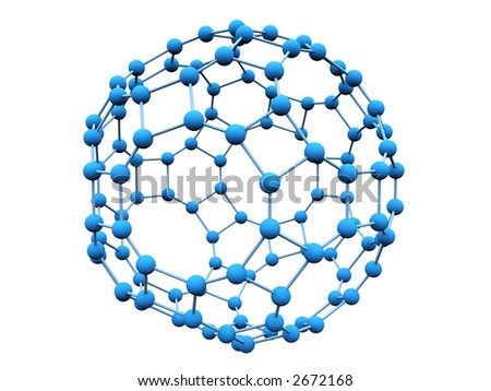 3D blue molecule over white background - stock photo