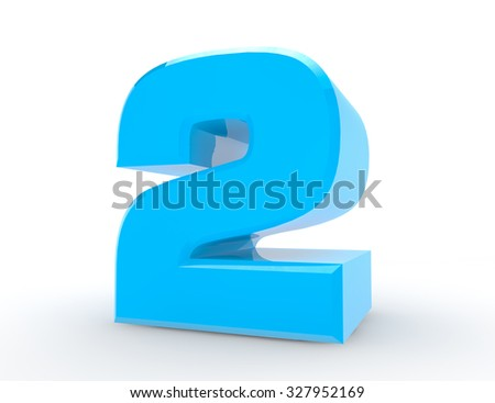 3d Blue number 2 on white background 3d rendering - stock photo