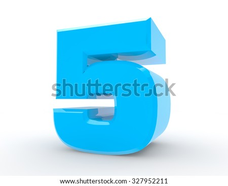 3d Blue number 5 on white background 3d rendering - stock photo