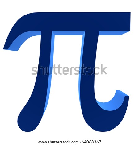 3D blue pi symbol on a white background - stock photo