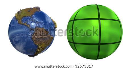 3d blue planet and green sphere isolated on white,ideal for 3D symbols or web buttons - stock photo