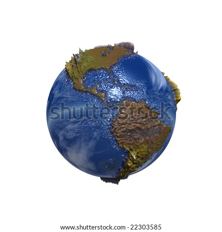 3d blue planet isolated on white,ideal for 3D symbols or web buttons - stock photo