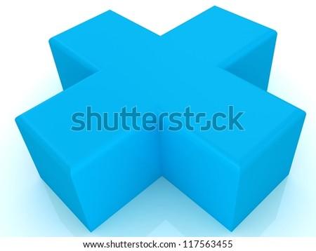 3d blue plus - stock photo