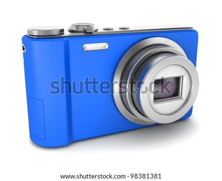 3d blue point and shoot photo camera isolated on white background
