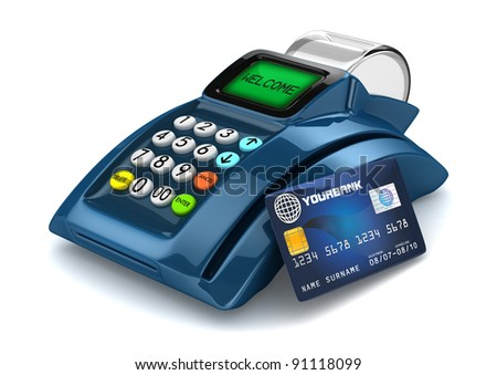 3D Blue POS-Terminal with Credit Card - stock photo