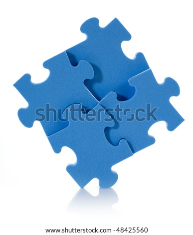 3D blue puzzle isolated on white background. - stock photo