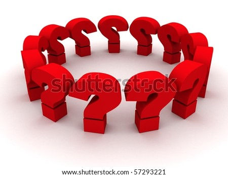 3d blue question marks on white background