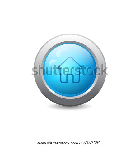 3d blue round web button with home icon. Raster version - stock photo