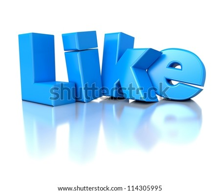 3d blue shiny text Like - social networks concept - stock photo