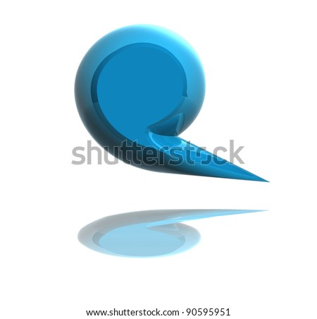 3d blue social media dialog bubble isolated over white background. Included clipping path so you can easily cut it out and put it on your own design. - stock photo