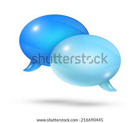 3D blue speech bubbles isolated on white - stock photo