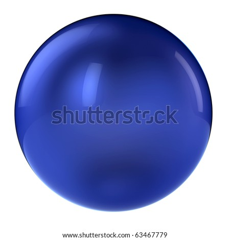 3d blue sphere in studio environment isolated on white - stock photo