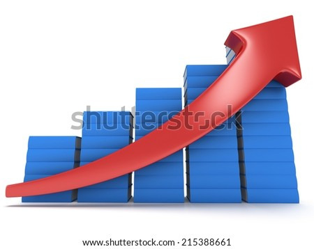 3d blue stack of books bar graph chart with red arrow growing up on white. Grow, chart, business statistic studing back to school education concept - stock photo