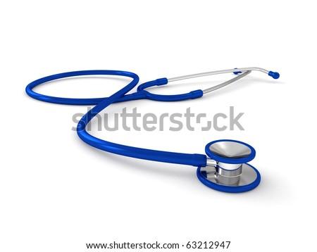 3d blue stethoscope isolated on white background - stock photo
