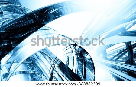 3d blue technology background - stock photo