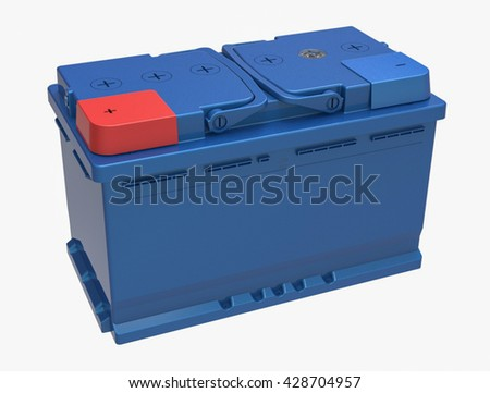 3D blue truck battery on white