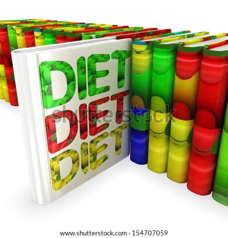 3d book with apple cover. Diet concept - stock photo