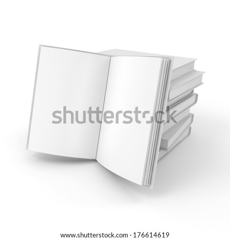 3d book with blank pages on white background - stock photo