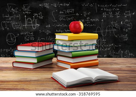 3d books and apple, school background - stock photo
