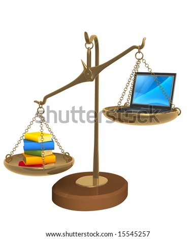 3d books and laptop on bowls scales. Object over white - stock photo
