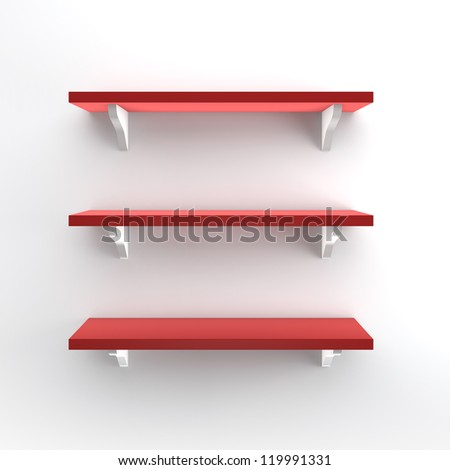3D Bookshelf in Wall and Stand - stock photo
