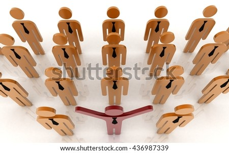 3d boss with workers on white background - stock photo
