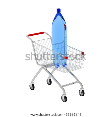3D bottle and shop cart isolated on white. - stock photo