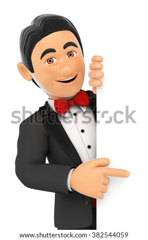 3d bow tie people. Tuxedo man pointing aside. Blank space. Isolated white background. - stock photo