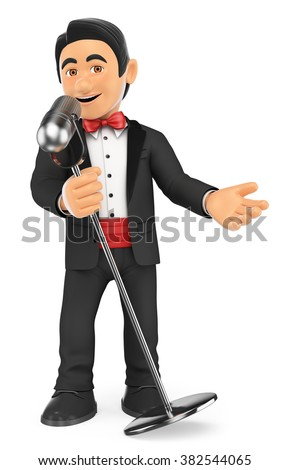 3d bow tie people. Tuxedo singer with microphone. Crooner. Isolated white background. - stock photo
