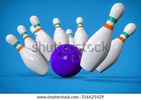 3D Bowling Background. Pins and Ball Isolated Render. Accuracy, target or success concept.