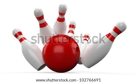 3D Bowling ball crashing into the pins... - stock photo