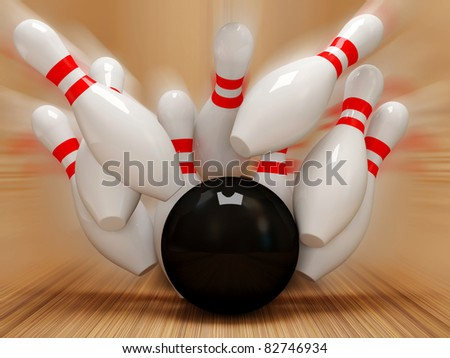 3d Bowling Ball crashing into the pins - stock photo
