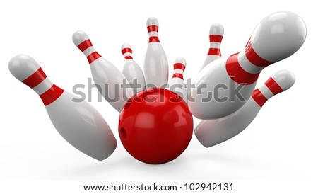 3d Bowling Ball crashing into the pins on white background - stock photo