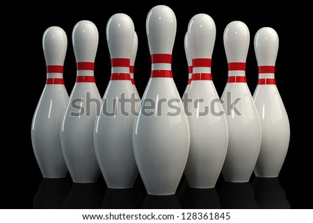 3D Bowling Pins On Black Background - stock photo