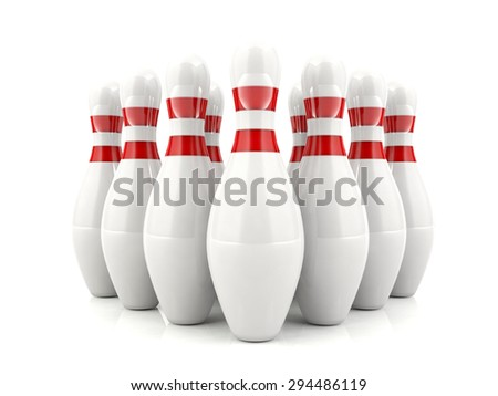 3D bowling pins with red stripes standing in formation - stock photo