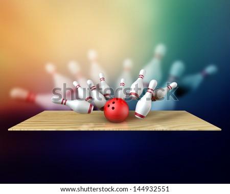 3d bowling strike ball hitting pins background - stock photo