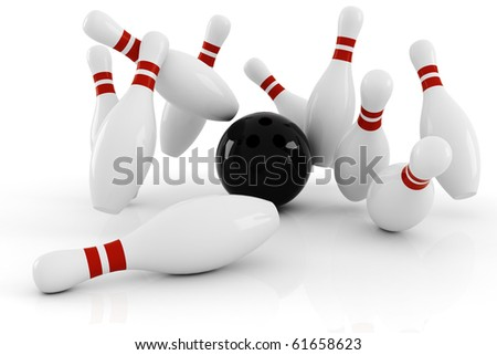 3d bowlink, strike ! - stock photo
