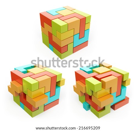 3D box. Cube. Create concept. Isolated white background. - stock photo