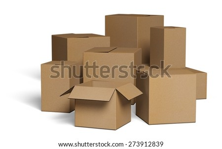 3D. Box, Moving Office, Moving House.