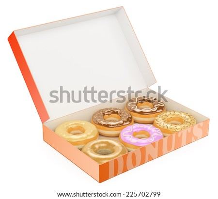 3d Box of donuts. Chocolate Vanilla Strawberry. Isolated white background. - stock photo