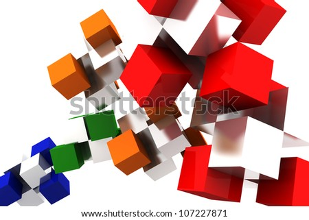 3D box rendering background texture inspiration assembly abstract red orange green blue mirror - stock photo