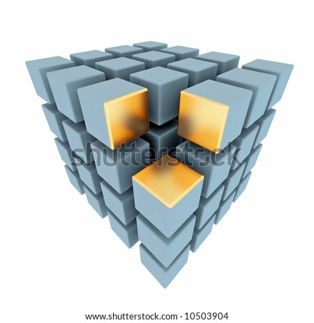 3D box's array isolated on white