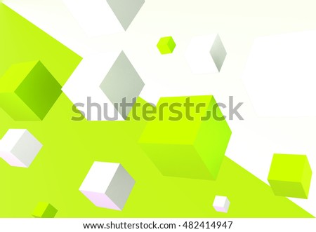 3d Box Wallpaper With Green And White