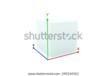 3d/box with coordinate system shows a three-dimensional image - stock photo