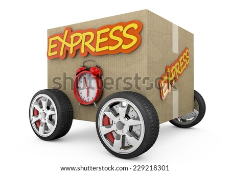 3D box with express delivery and chrono on wheels - stock photo