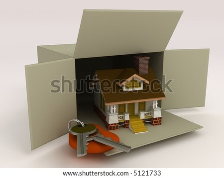 3d box with house and 3d keys - stock photo